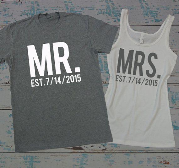 MR and MRS tee shirt and tank top set. Honeymoon shirts. Just Married shirts. Wedding tank and tee. Bride and Groom shirts.