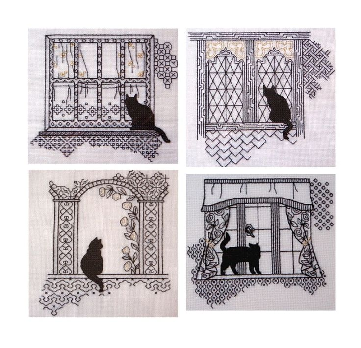 Gallery.ru / Фото #1 - Кошки на окошках. - irinika blackwork cat on a window sill