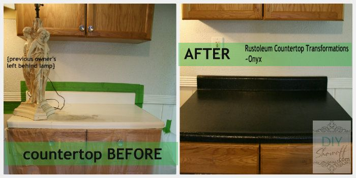 Rustoleum counter top paint kit. This looks time consuming, but I want to try it!  counter top before and after