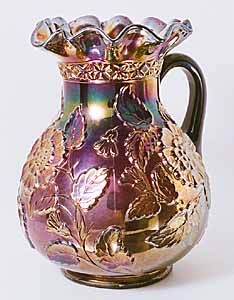 Carnival Glass Pitcher / Rambler Rose pattern