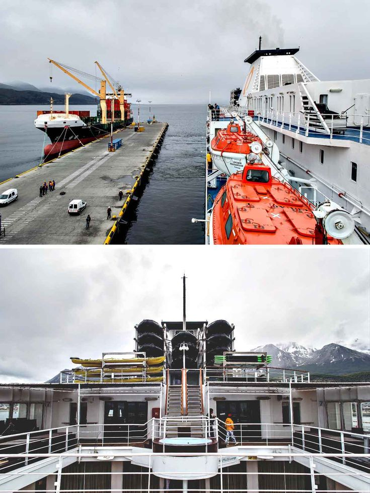 The Ocean Endeavour leaving Ushuaia wharf for Antarctica | heneedsfood.com