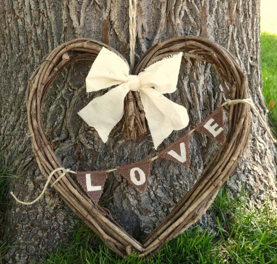 Grapevine Heart Wreath with LOVE Banner by MaesieGraceCreations on Etsy