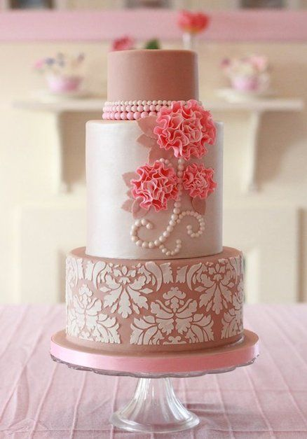 Ecru, Pearls, Damask and Ruffle Flowers  Cake by Clabby. This one makes me think of ladies in lovely dresses sipping from china tea cups sitting in a garden or solarium having tea.