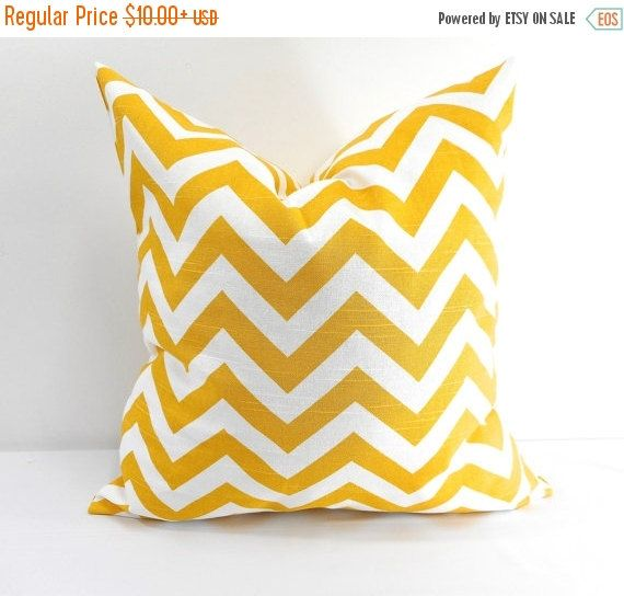 On Sale Chevron Yellow Pillow case. Sham by TwistedBobbinDesigns