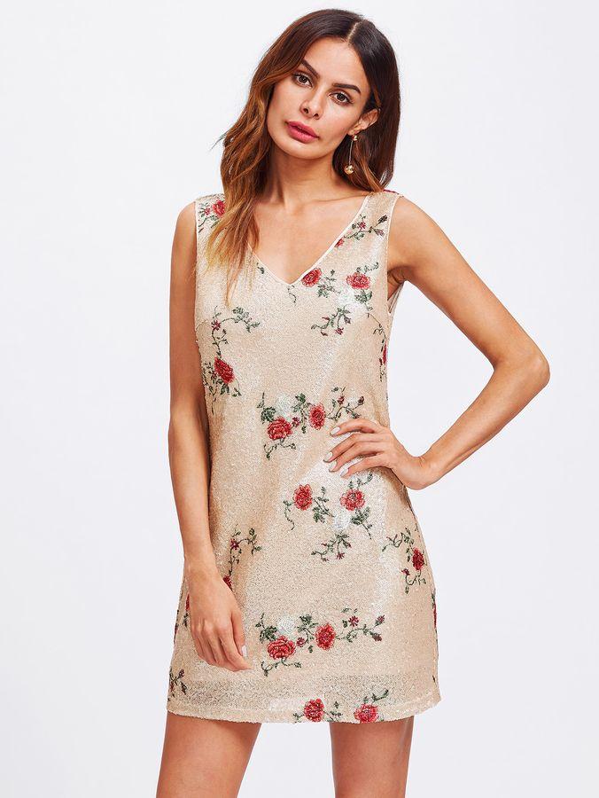 Shein Flower Embroidered Metallic Sequin Dress
