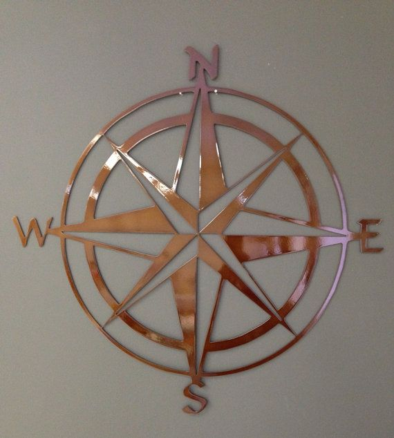 Nautical Compass Rose Metal Wall Art 24 Copper by alkemymetal, $49.00