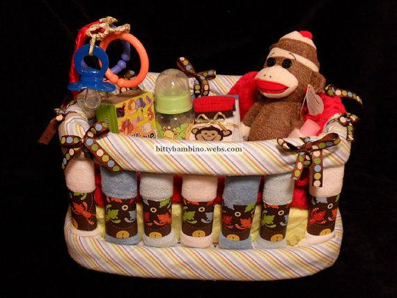 Crib Diaper Cake - Boy Sock Monkey Diaper and Washcloth Crib - Deluxe Model with Handmade Baby Gift Set