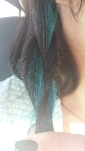 Aqua/turquoise highlights with dark brown hair