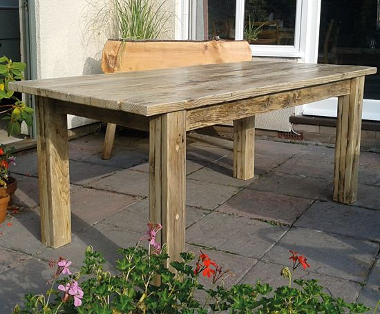 Chunky reclaimed scaffold board table, great indoors or out