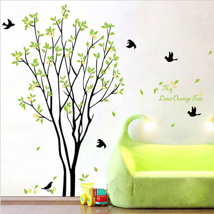 Free Shipping PVC Removable Wall Stickers Birds And Green Trees Home Decor Wall Decals Vinyl  Adesivo De Parede 100*120cm US $7.90