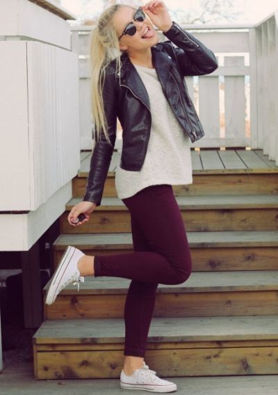 wine coloured leggings paired with Allstars, a white tee, and leather jacket