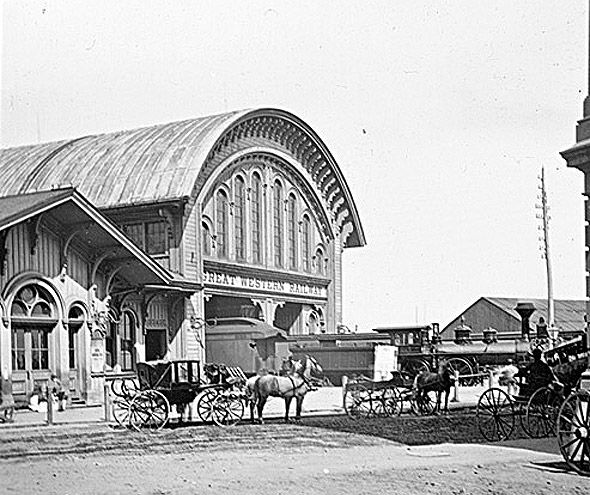 1867 – Toronto becomes the capital of Ontario. | 2011125-Great_Western_Railway_Station_Toronto_1867.jpg