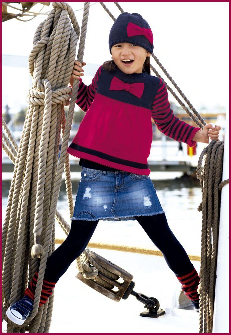 patrón de jersey para niña de lanas katia 2/10 años