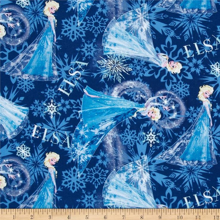 Disney Frozen Elsa Allover Blue From Fabricdotcom