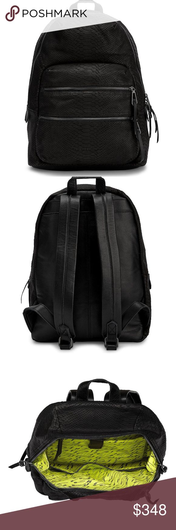 """Saku Backpack in Ninja Black From the streets to the office - a backpack with edgy + style. Never used, with tags.          Nubuck leather with a python finish         Adjustable straps         Patterned textile lining         12""""H x 9""""W x 4.2""""D         100% Cowhide leather Liebeskind Bags"""