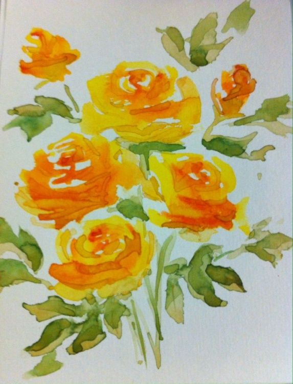Yellow Watercolor Roses  by Lin Pacific