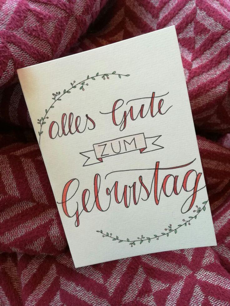 Geburtstagskarte Handlettering Geburtstag Karten Pinterest