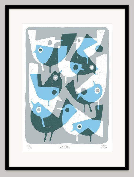 Oiseaux par Lo Cole  édition limitée d'archivage pigment par locole
