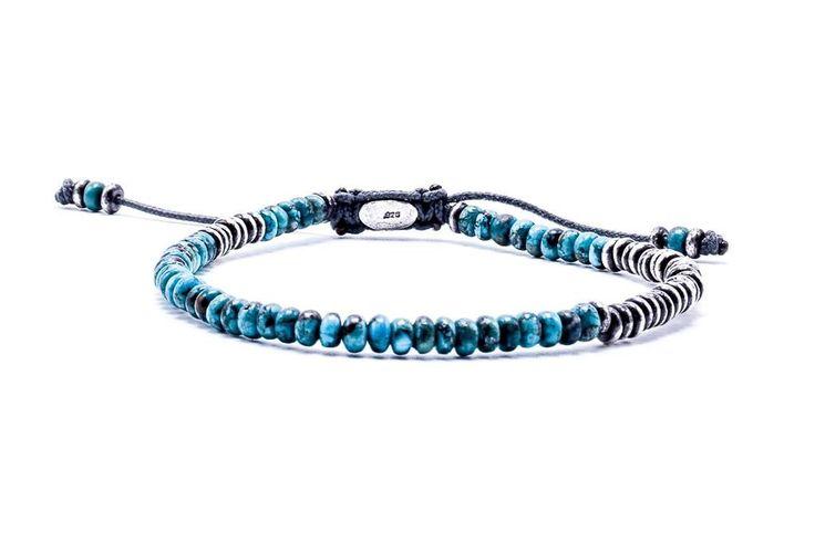 M Cohen Table Stacked Gemstone Sterling Silver Ingot Turquoise Bracelet
