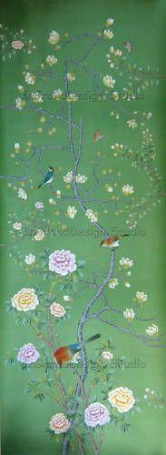 Chinoiserie Handpainted SilkWallpaper: Magnolia Garden