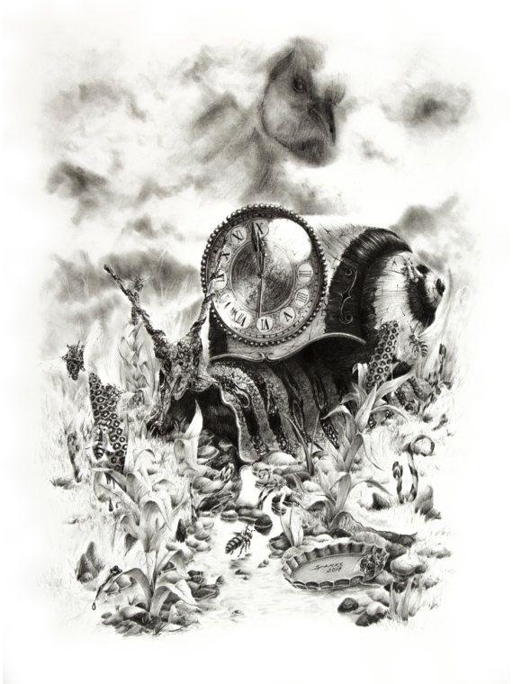 Honey Corn. Original surreal graphite scene with by ArtwaveStudio