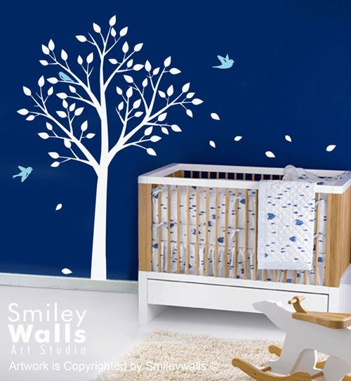 TODAY ON SALE  Tree and Cute Birds   Vinyl Wall by smileywalls, $69.00