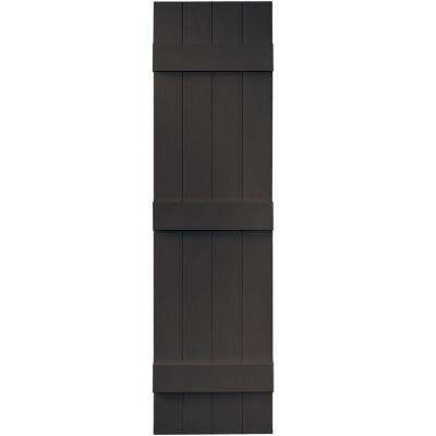 14 in. x 55 in. Board-N-Batten Shutters Pair, 4 Boards Joined #010 Musket Brown