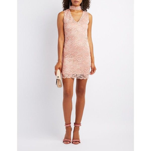 Charlotte Russe Choker Neck Lace Bodycon Dress ($23) ❤ liked on Polyvore featuring dresses, mauve, sexy white dresses, lace bodycon dress, sexy white cocktail dress, bodycon dress and white lace cocktail dress