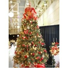 red silver and gold decorated christmas trees