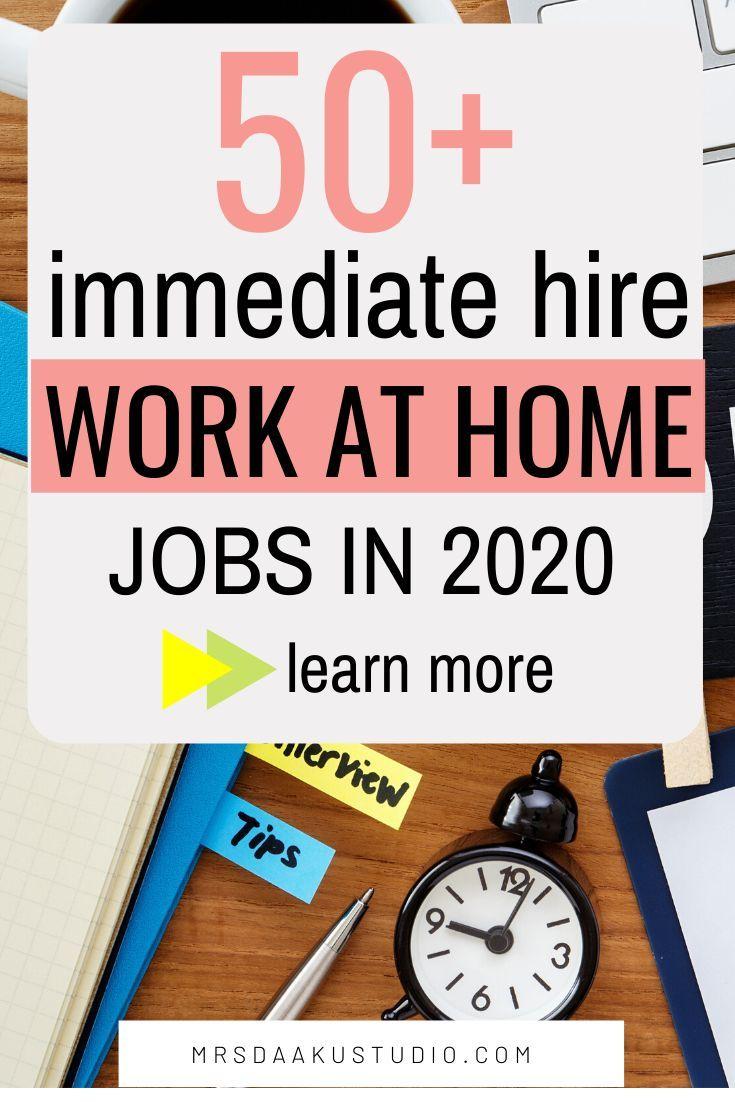 50 immediate hire work from home jobs near me 2020
