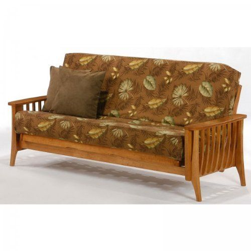 """Aurora Full Futon (Medium Oak) (38.25""""H x 38.375""""W x 86""""D) by Night and Day Furniture. $660.00. This item ships common carrier.. Size: 38.25""""H x 38.375""""W x 86""""D. Transitional Style. Mattress NOT Included. Color: Medium Oak. The Medium Oak Aurora Full Futon offers clean, modern lines with a slightly rounded effect for a transitional effect. These premium wood futons are made strong and smart with durability, style and comfort always in mind. Each futon frame is carefully c..."""