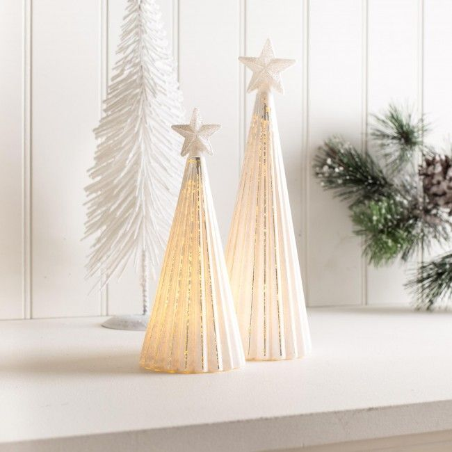Sparkle some cheer into your home this season with the Frosted Glass Christmas Tree LED Set.