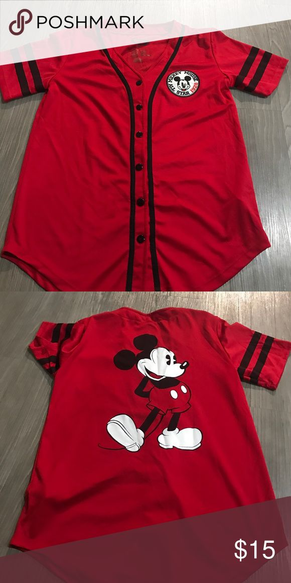 FOREVER 21 DISNEY MICKEY MOUSE JERSEY SHIRT Size small worn one time forever 21 disney jersey Forever 21 Tops