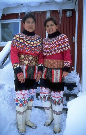INUIT CULTURE: Greenland. The upper part of the national dress seen here is made of thousands of beads. (Courtesy of Greenland Tourism/ Lars Reimers)
