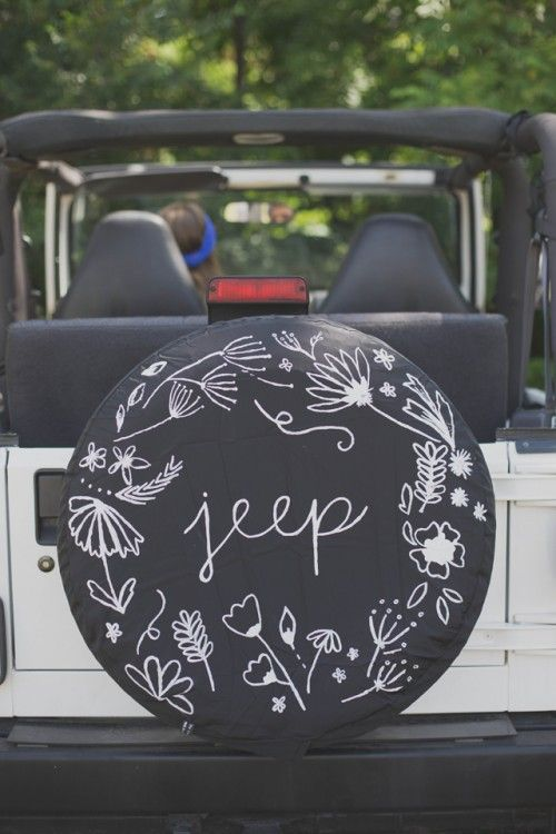 I want a jeep and that be a cool design for the spare tire cover but instead of saying jeep it say something different