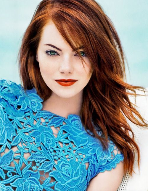 """I may be a blonde at roots, but I'm a redhead at heart."" ~ Emma Stone, Advocate interview, August 2011 Do you have a girl crush? ""Christina Hendricks. It's a no-brainer. Everything about her does it for me. That's my kind of woman."""