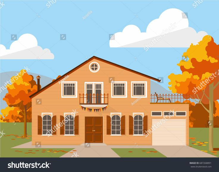 Family house with taupe lining beige facade in autumn. Vector illustration for web or promotional material