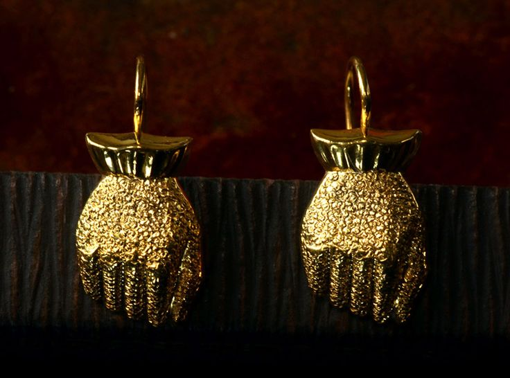 1870-80s Victorian Hand Earrings, Gold Filled, Converted 14K Wires, $395