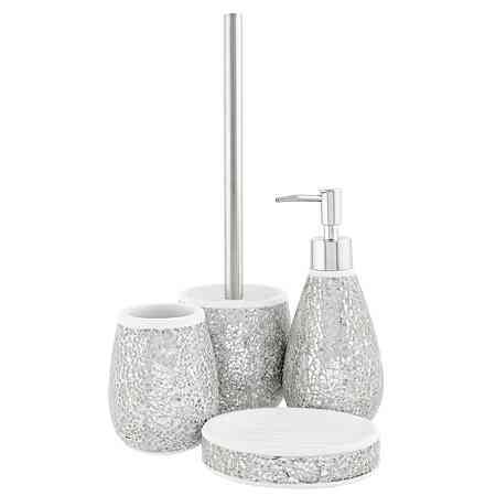 Buy Cracked Silver Glass Bath Accessories Range From Our Bathroom  Accessories Range Today From George At ASDA.