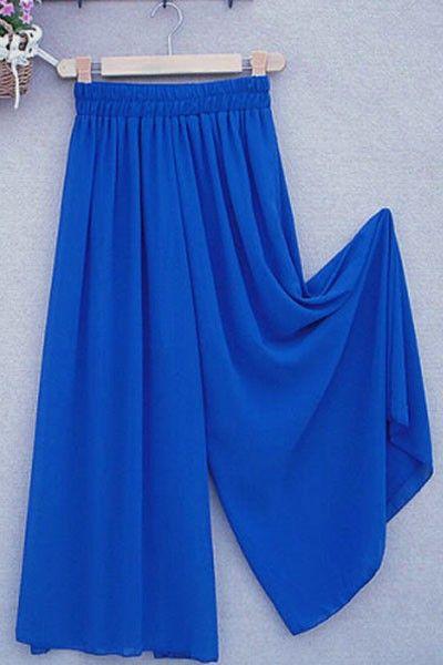 Pantalón Largo Azul de Gasa