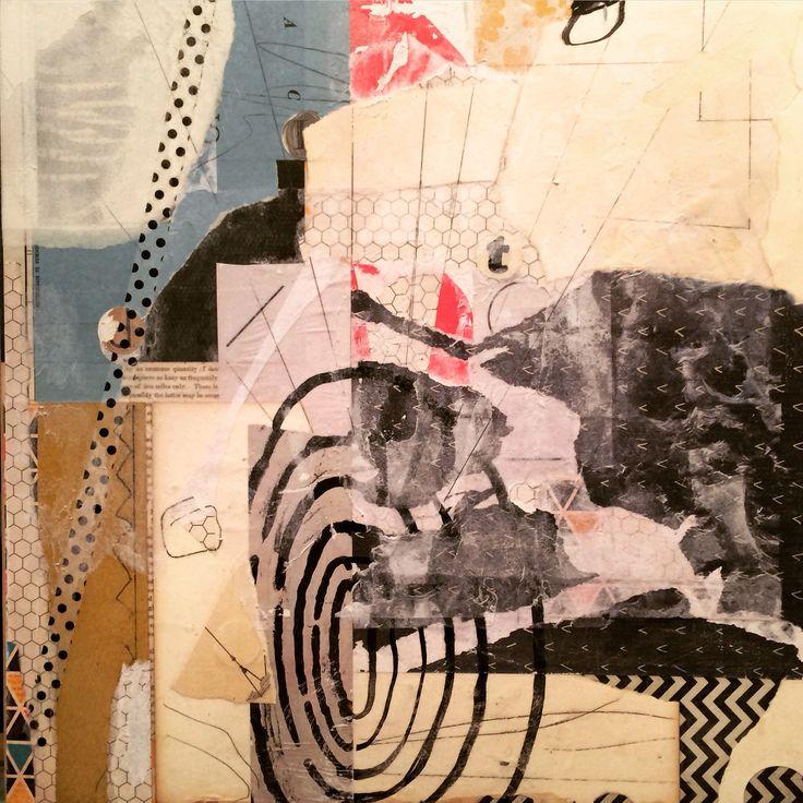 """Moving on,"" Angela Holland, mixed media on panel, 2015"