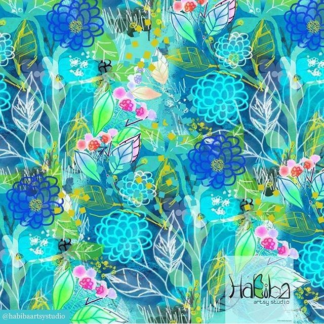 We love seeing what designers are doing in our Photoshop for Designers class. Here's a lovely tropical print by @habibaartsystudio in the #photoshopfordesigners feed.