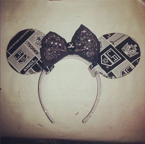 Los Angeles Kings Minnie Mouse Ears by BoozeNJewelz on Etsy, $13.00