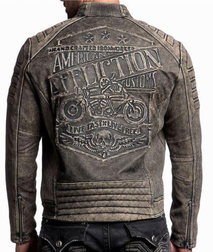 Affliction - IRON HEAD - Men's Leather Biker Jacket MOTO - Vintage Washed Black
