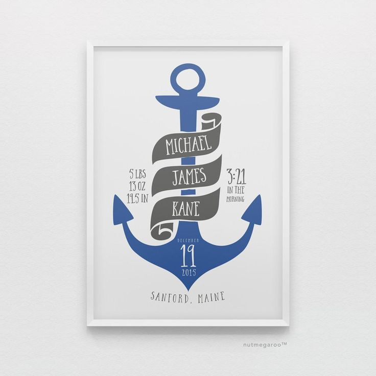 Nautical anchor birth stats nursery art print for baby boy in blue and gray