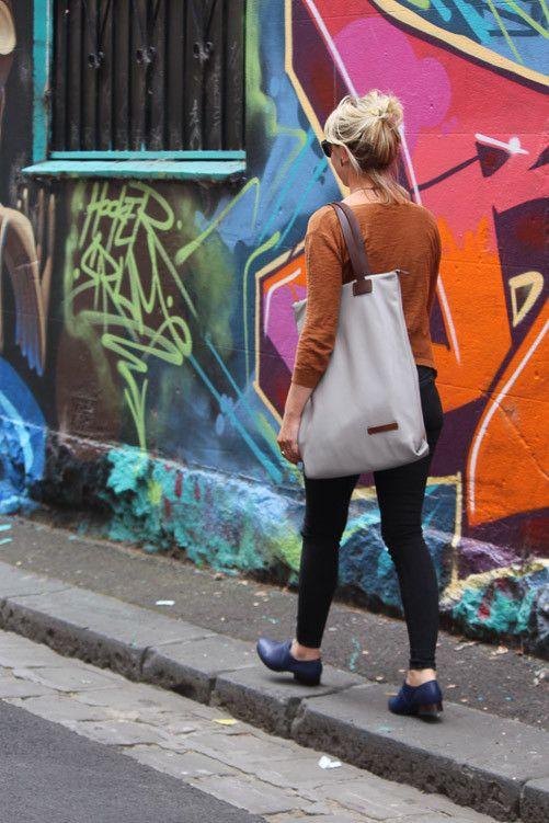 Harlequin Belle Wanderlust Backpack Handbag Nappy Bag Grey Tan Leather Graffiti