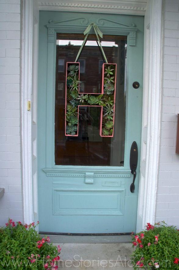 Click pic for tutorial. Door decor oversized letter monogram succulent wreath.
