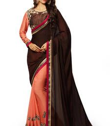 Buy Brown embroidered georgette saree with blouse party-wear-saree online