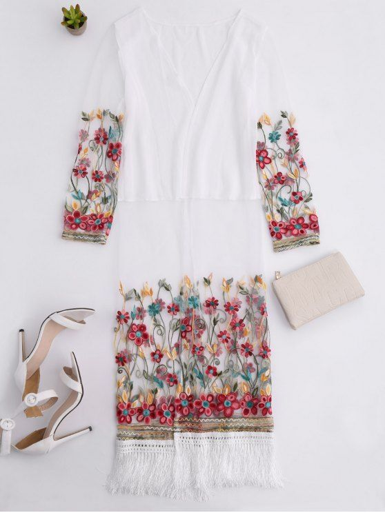 Embroidered Tassel Open Front Long Duster Coat - WHITE ONE SIZE