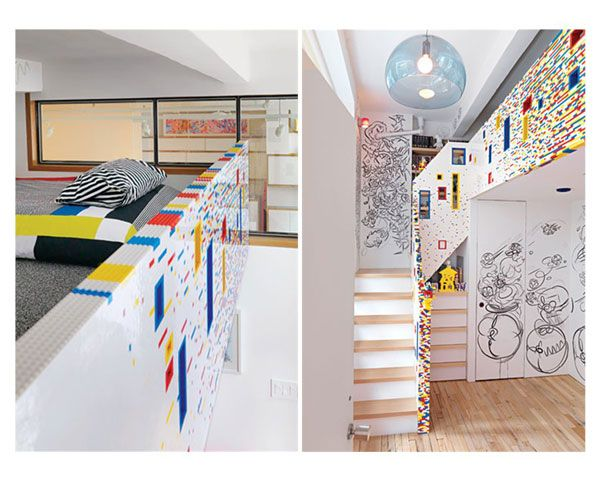 """Sure, a LEGO greenhouse is cool, but what about a playful room inside the home? Something a little more kid-centric? Artist Melissa Marks and interface designer Vicente Caride gave their young son Archie just that: a wild wall and staircase made completely of LEGOs. The New York Magazine piece calls this """"The 20,000-Brick Apartment,"""" and seeing is believing. Check out this primary-colored palace."""